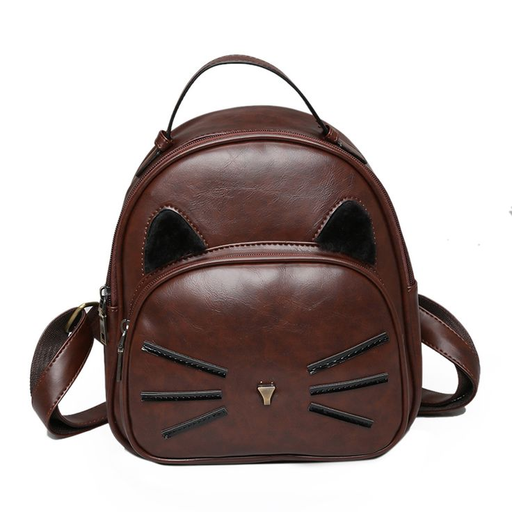 2017 High Quality Pu backpacks women School bag Lovely cat Backpack Ladies retro small backpack Girl's casual schoolbag knapsack