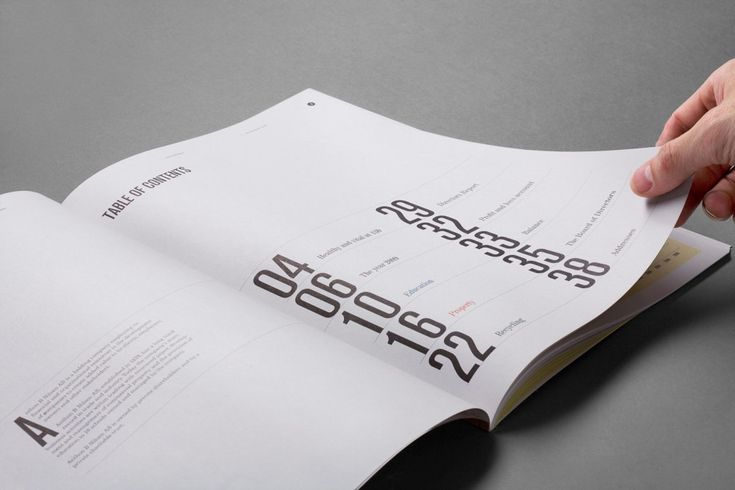 Anthon b nilsen annual report love table of contents for Table of contents design
