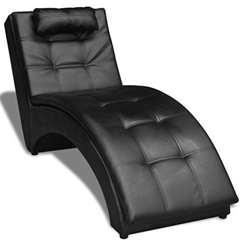 Skb Family Chaise Longue With Pillow Artificial Leather Black Upholstered Daybed Loveseat Style Leather Chaise Lounge Upholstered Daybed Living Room Leather