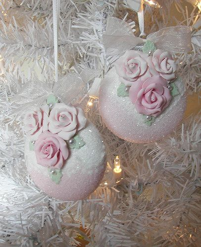 Pink Clay Rose Christmas Ornaments Shabby Cottage Chic http://stores.ebay.com/Rose-Brook-Cottage by Rose Brook Cottage
