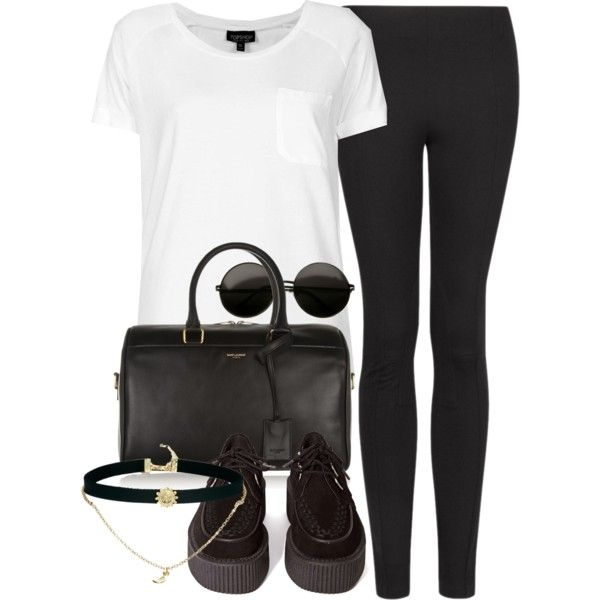 A fashion look from June 2014 featuring Topshop t-shirts, MANGO leggings and T.U.K. shoes. Browse and shop related looks.