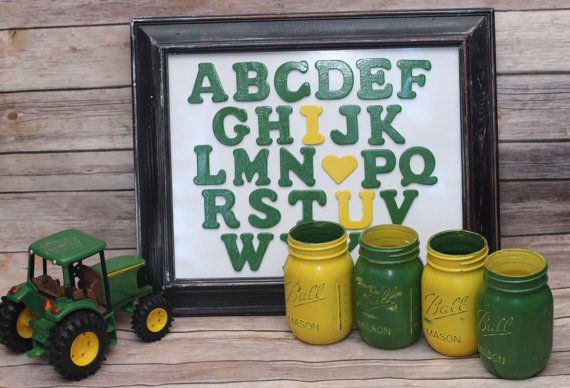 John Deere ABC I LOVE YOU Children's Decor Distressed Wood Frame Alphabet Wood Letters Hand Painted and Distressed