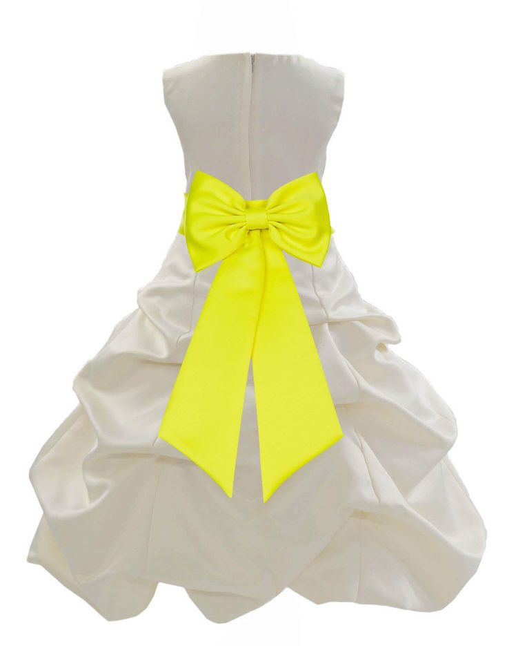 Ivory Satin Pick up Beauty Pageant Bridesmaid Special Occasions Gown Flower Girl Dress 808t3