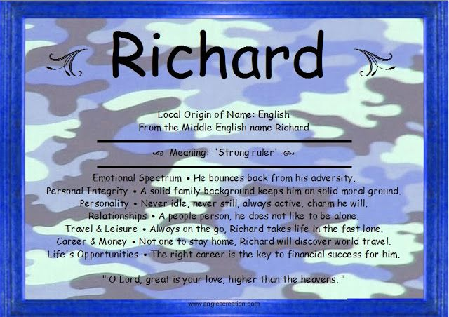 Richard meaning | Names with meaning, Meant to be, Names