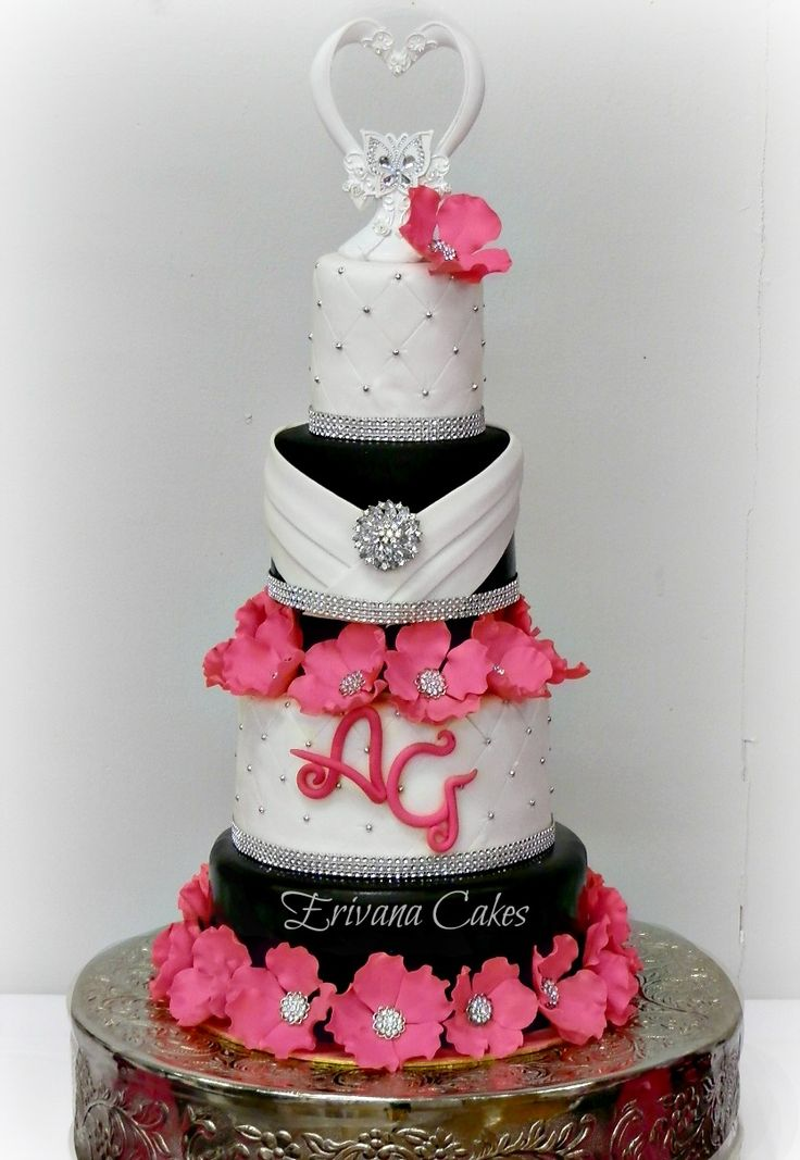 wedding cakes black white and pink 17 best images about cake 3 black white with splash of 23902