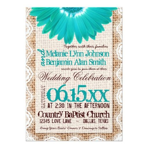rustic burlap lace teal daisy wedding invitations - Daisy Wedding Invitations