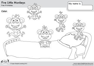 Free five little monkeys coloring page from super simple for Five little monkeys jumping on the bed coloring pages