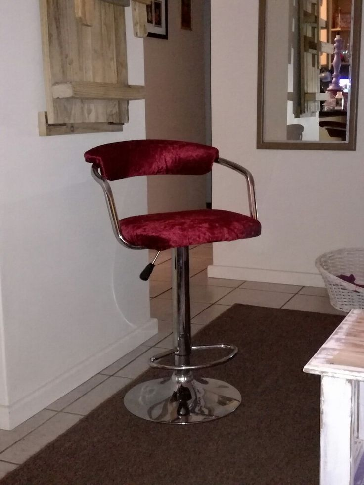 Re-upholstered bar chair, red velvet