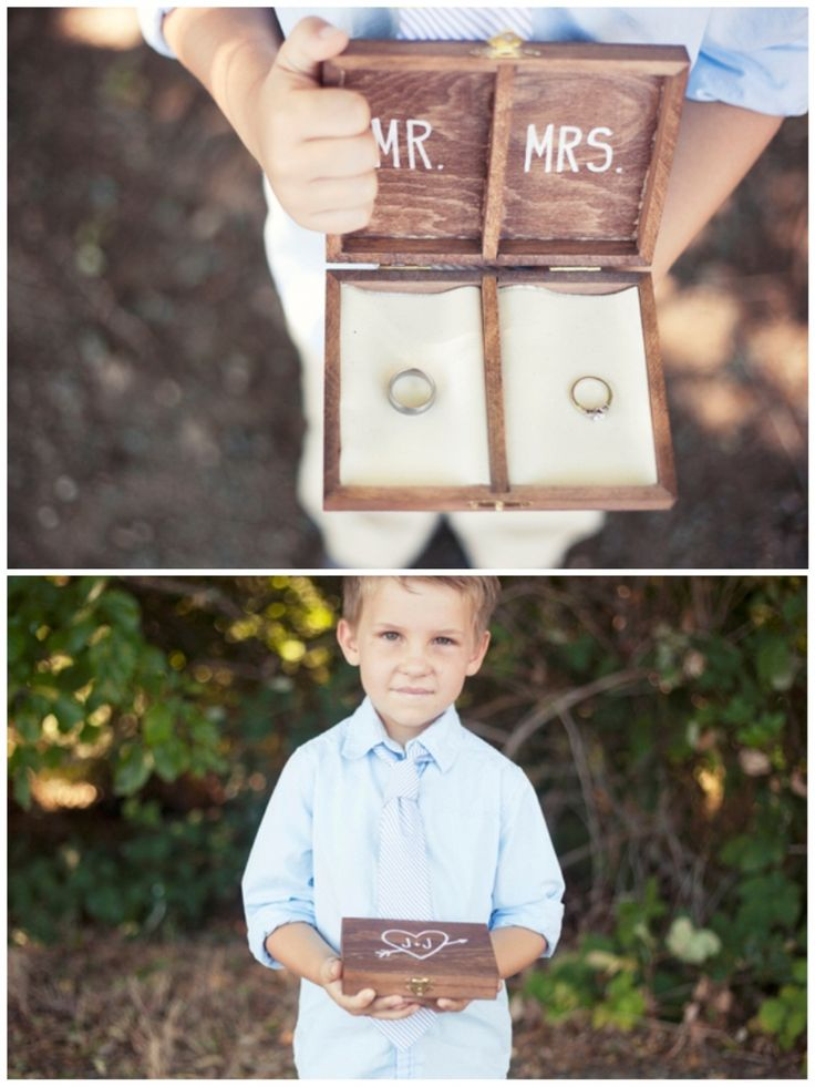 Wooden ring bearer box. I think I like this idea better than a pillow...