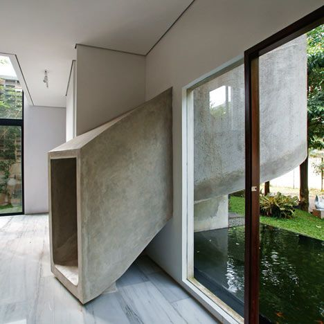 spiralling concrete slide instead of boring stairs!