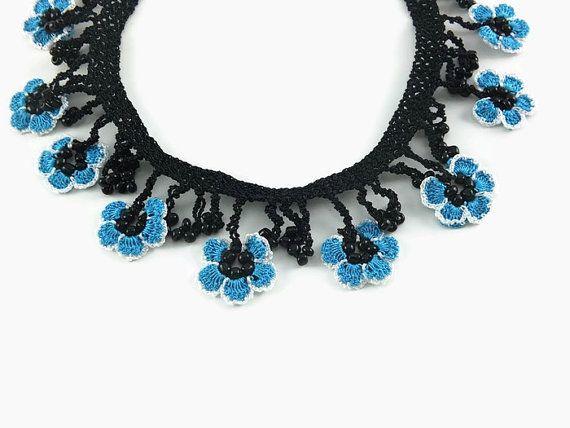Blue And White  Oya Lace  Flowers Crochet Necklace by Nakkashe