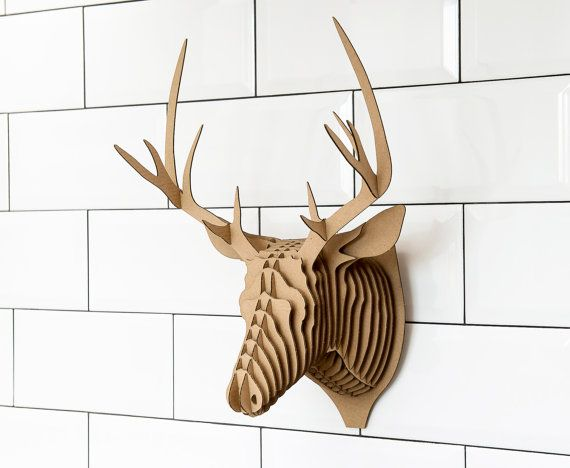 Hubert Big by Qbidesign on Etsy Assemble yourself corrugated cardboard wall decoration. Each element is numbered, making the composition simple. Instructions included.