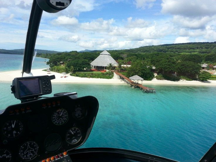 helicopter ride to the Havanna Resort in Vanuatu.  Land on the beach!