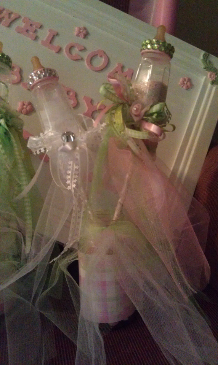 Blinged Out Baby Bottle Wands for Baby Shower Center Pieces.