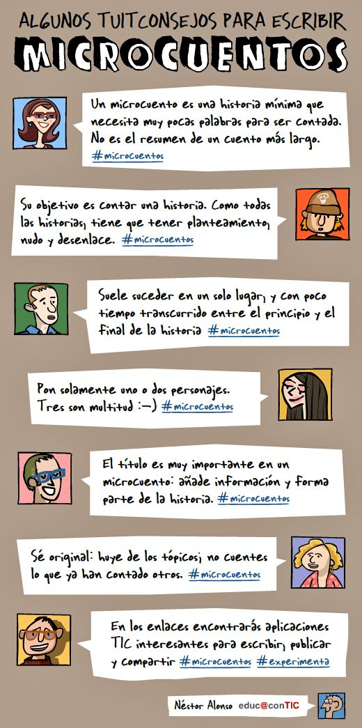 Tuitconsejos para escribir microcuentos #infografia