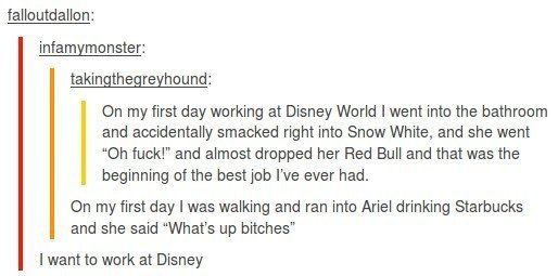 When they realised that working at Disney was probably the dream job.   31 Times Tumblr Had Serious Questions About Disney