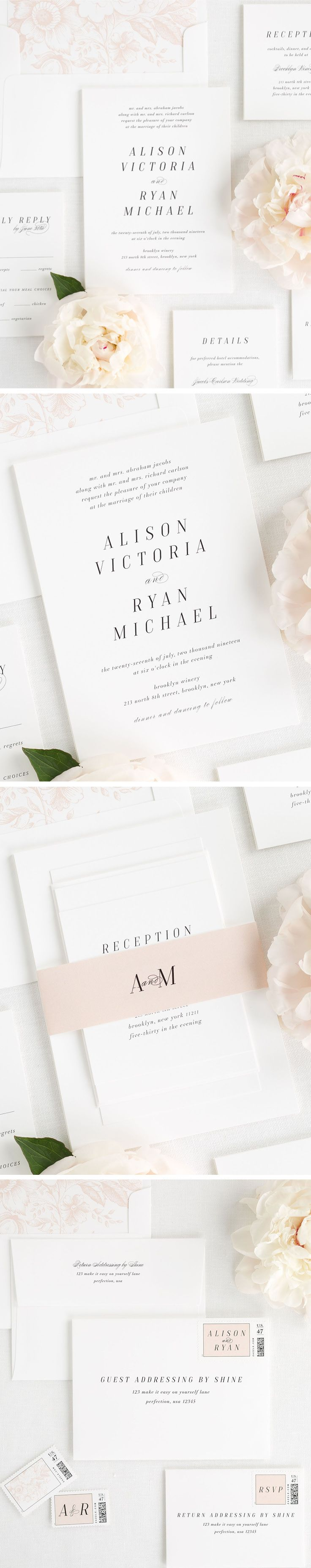 Meet Alison, our new wedding invitation design for 2017. With a light and airy feel, these simple yet chic wedding invitations are perfect for your timeless wedding celebration. Complete the look with our floral envelope liner and belly band in rose gold.