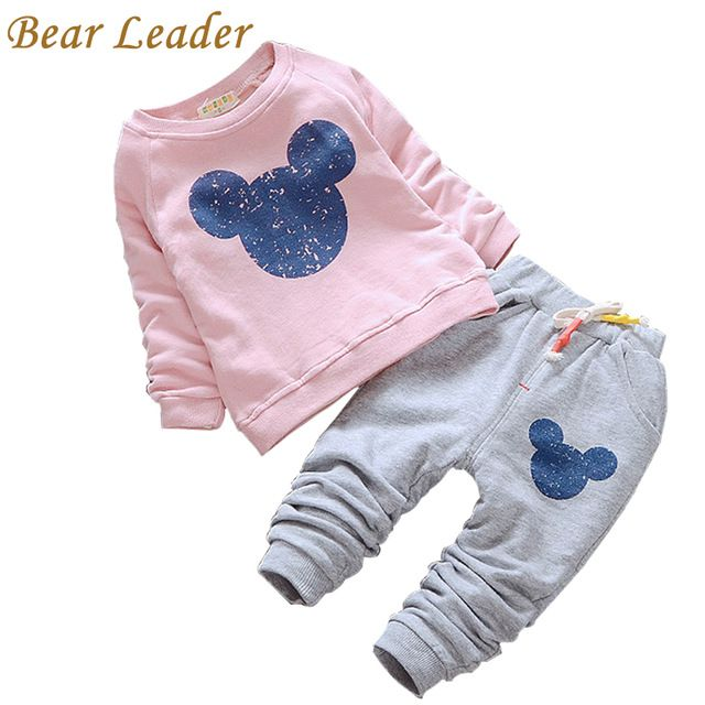 Líder del oso Bebé Ropa de La Muchacha 2016 Ropa Del Bebé Del Otoño de Dibujos Animados de Impresión Sudaderas + Pantalones Casuales 2 Unids para el Bebé ropa