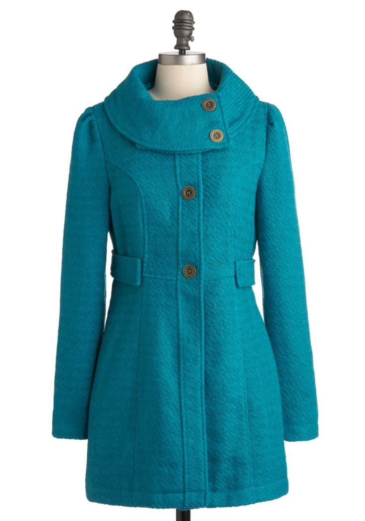 By Your Bayside Coat at ModCloth - LOVE IT!: Cute Coats, Baysid Coats, Color, Fall Coats, Tulle Clothing, Blue Coats, Vintage Coats, Vintage Inspiration, Winter Coats
