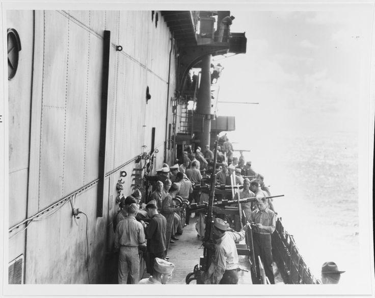 """""""View taken aboard USS Enterprise (CV-6) looking..."""