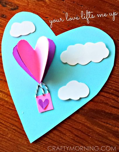 3d heart hot air balloon valentine craft for kids