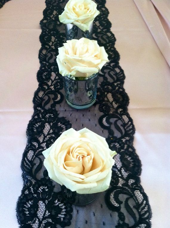 Use lace as a table runner for a striking rose centerpiece. Originally found at: etsy by LovelyLaceDesigns