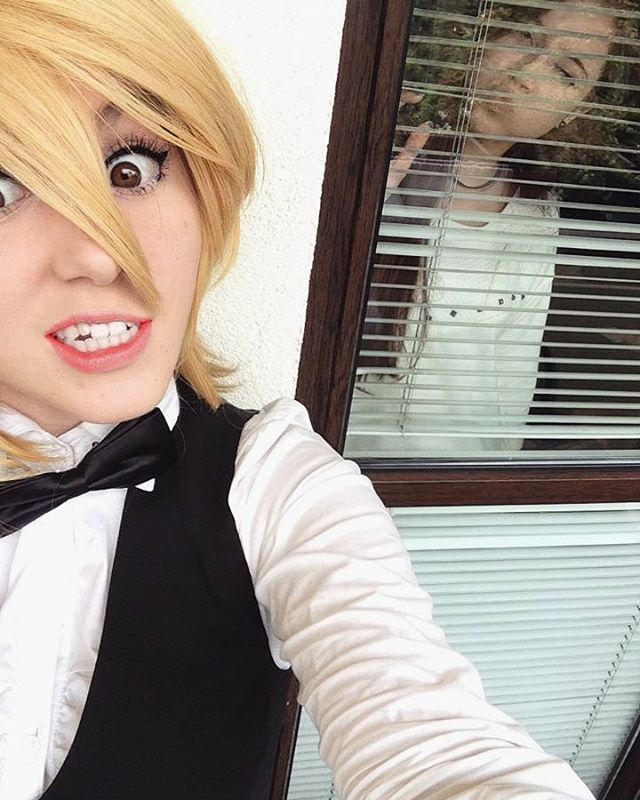 So it was more than 1,5 year ago when we decided to cosplay Shizuo and Izaya Fem! with @katty_tsuki  This is very first photo I took with un-cut wig and causal make-up. Maybe later I will post the final version of this.  Without silly bestie in the background.  #durarara #drrr #shizuo #shizuka #heiwajima #cosplay #cosplayer #poland #shizuocosplay #durararacosplay #bestie
