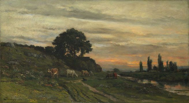 Landscape with Cattle by a Stream Charles-François Daubigny 1872