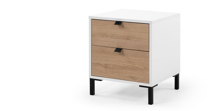 Latymer Bedside Table, Oak Effect and White Gloss £129 | made.com