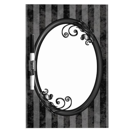 Black Grey Dark Vintage Picture Photo Frame Dry-Erase Board - This dry erase board has a black and grey striped, grunge background which looks faded and old. Place your name or picture inside the shiny black frame with leaves and swirly vines growing from it. Use it as a shopping list, a reminder and date board, a to do list or all of the above!