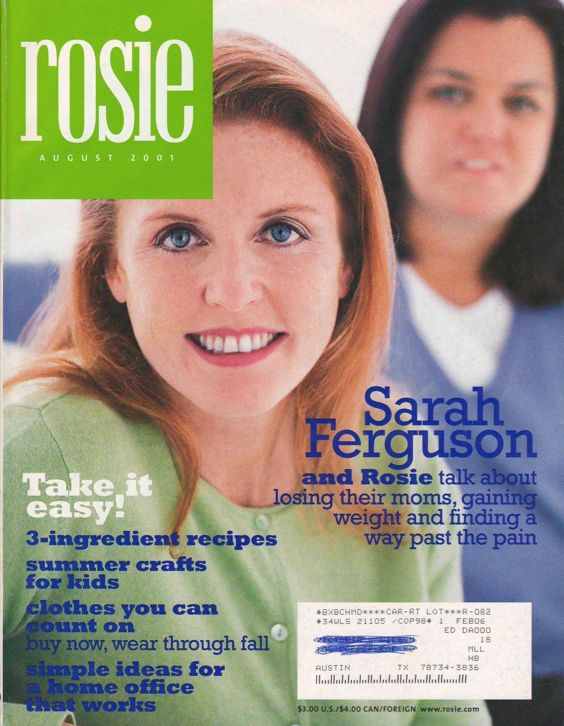 Rosie O'Donnell Magazine August 2001 Aug 8/01 Sarah Ferguson Cover