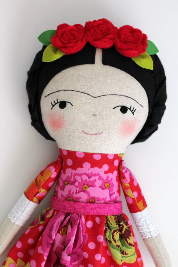 Frida Kahlo handmade doll. Rag doll to decorate and by blita