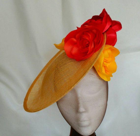 Yellow fascinator, yellow and orange fascinator, flower fascinator, flower hat…