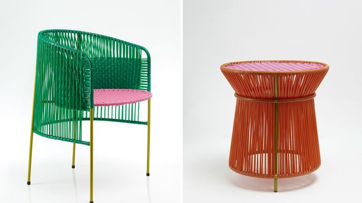"""Using the traditional """"momposino"""" technique, Colombian craftsman wrapped colorful strands of plastic around steel tubes, creating intricate patterned backs for chairs and round coverings for table legs."""
