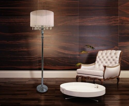 The Sheer Shade Chrome Floor Lamp And Hanging Crystals By Elegant Designs