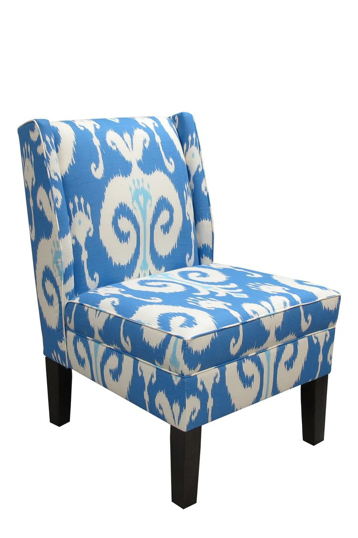 skyline furniture upholstered ikat armless wingback chair porcelain eclectic chairs by wayfair