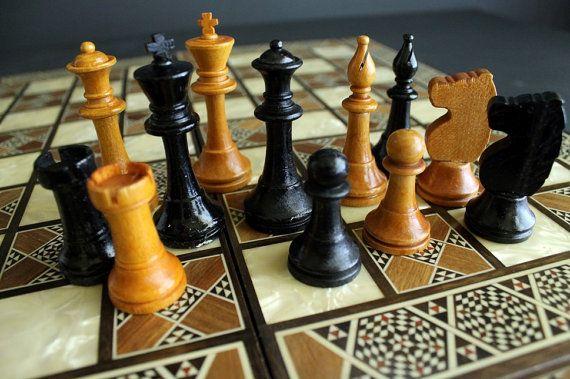 Vintage Chess Board Game Pieces by Milton Bradley Co. Wood Chess Men Set 4279
