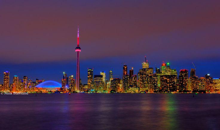 HDR Toronto Skyline at Night, Ontario, Canada | by Nina Stavlund, via 500px