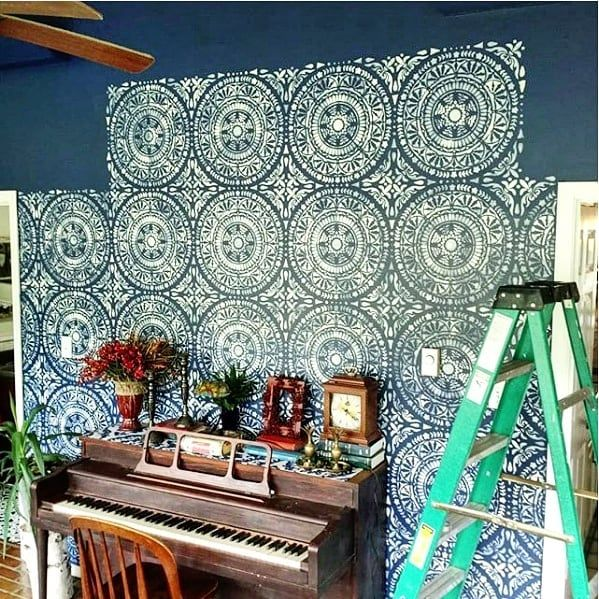 Our Gorgeous Wall Stencils Give Heidibixby A Luxurious Wallpaper Look Unlike Wallpaper These Stencils Wall Moroccan Wall Stencils Stencil Painting On Walls