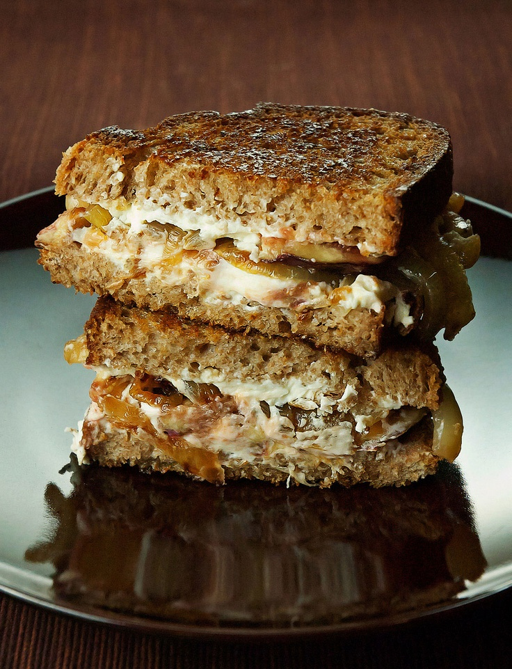 Fig and Goat Cheese Sandwiches with Caramelized Onions