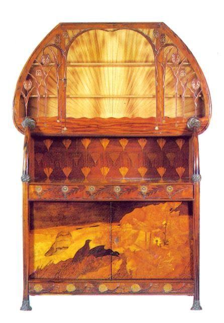 """Louis Majorelle (1859-1926) - Credenza. Mahogany, with Marquetry. Circa 1900. 89"""" (226cm)."""