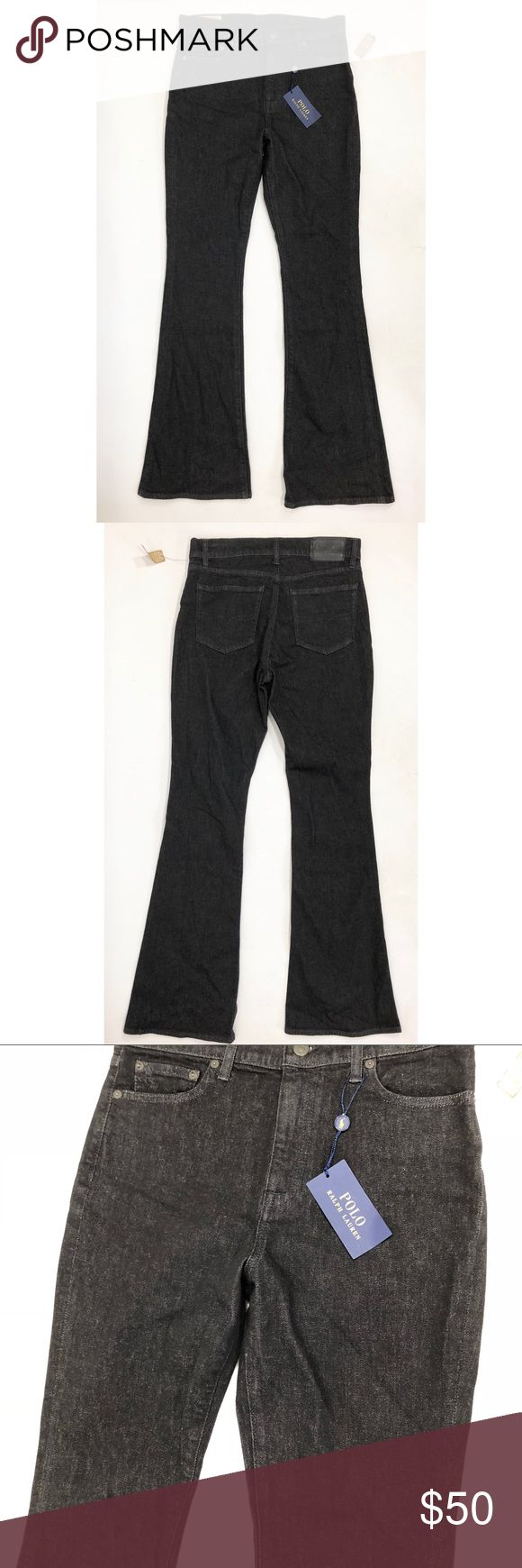 Polo Ralph Lauren Jeans 30 Black Denim Flare Leg Polo Ralph Lauren Womens Jeans Size 30 Black Denim Flare Leg NEW. Measurements: (in inches) - Waist:32 - Length: 46 -Inseam:34 Polo by Ralph Lauren Jeans Flare & Wide Leg
