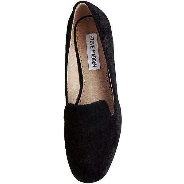 Steve Madden Women's Jean-V Scarf Loafers (£65) ❤ liked on Polyvore featuring shoes, loafers, black velvet, black velvet loafers, velvet loafers, black shoes, black dressy shoes and loafer shoes