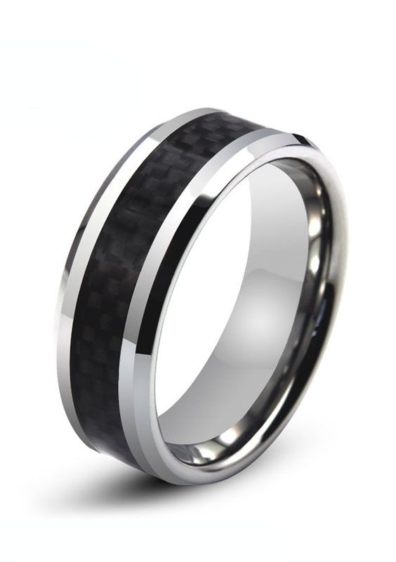 Tungsten Carbide White Carbon Fiber Inlay Comfort Fit Band