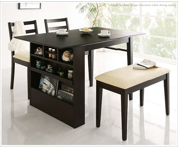 extension dining table with storage, 2-chairs and a bench