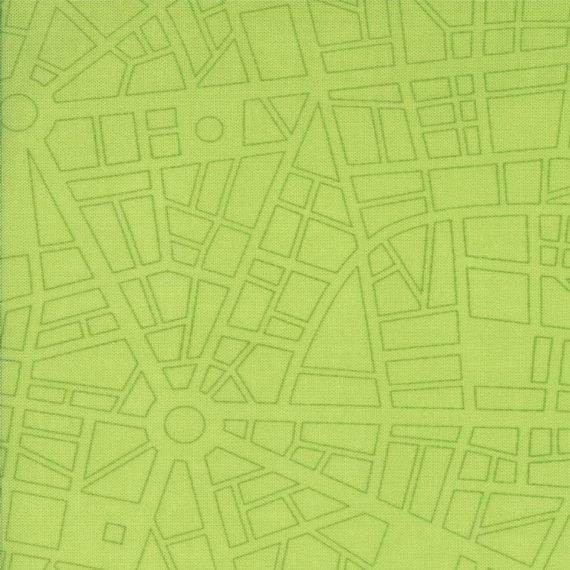 Barcelona - City Map in Lime Green - Cotton Quilt Fabric - Zen Chic for Moda Fabrics - One Yard