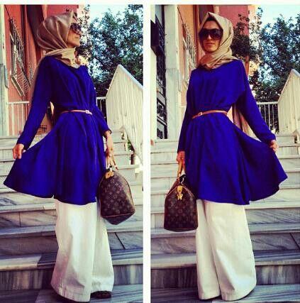 نيلي gold hijab blue top cream pants