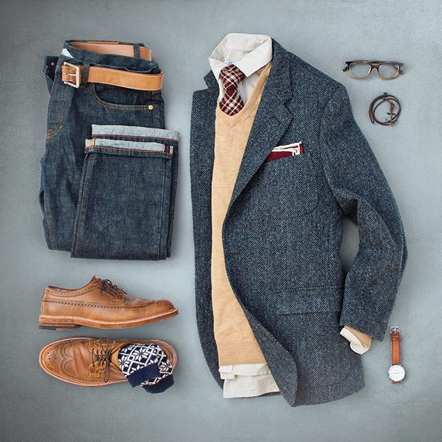 Happy Labor Day! Post Labor Day ideas. #grabergrid  Selvedge Denim: @grayers  Belt: @rancourtco Natural CXL Shoes: Alden Longwing Natural CXL x @leffot  Socks: @anonymousism_japan  Blazer: @jcrewmens x @harristweedauthority  Sweater: @bonobos  Shirt: @glasshouseshirtmakers  Tie: @suitsupply  Pocket Square: @jcrew  Glasses: @warbyparker  Bracelet: @maritimesupplyco  Watch: @danielwellington