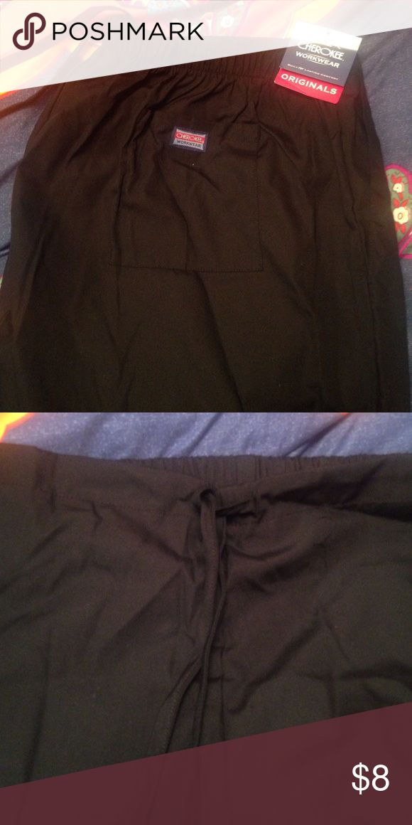 NWT Cherokee brand women's scrub pant black These scrub pants are NWT! Too baggy for me and I couldn't return them. Cherokee is usually a comfortable brand! Cherokee Pants