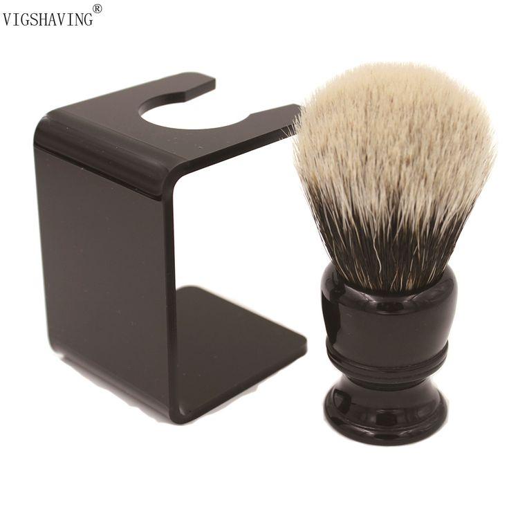 "VIGSHAVING 26 מ""מ קשר שחור ידית שרף Finest שיער גירית גילוח מברשת עם מעמד אקריליק חינם"